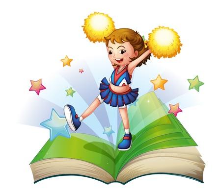 cheer leader: Ilustraci�n de un libro de cuentos verde con un cheerdancer sobre un fondo blanco