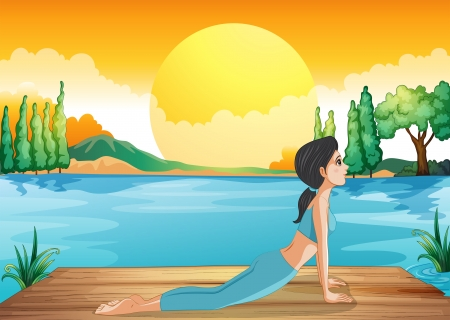Illustration of a girl performing yoga along the river Stock Vector - 20518098