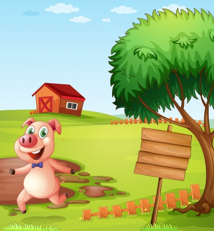 mud house: Illustration of a pig in the farm near the empty signboard