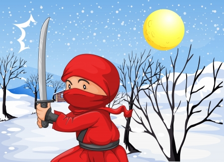 Illustration of a red ninja in the snow Vector