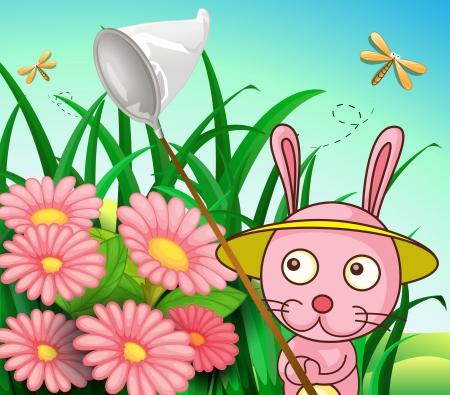 hillside: Illustration of a rabbit catching dragonflies