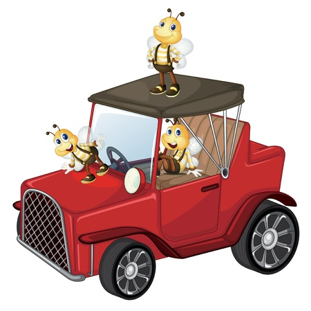 Illustration of a red car with bees on a white background  Vector