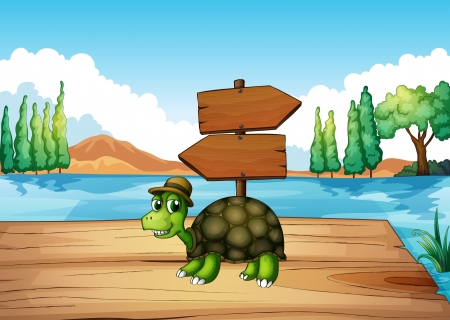Illustration of a turtle at the wooden bridge with an empty signboard Vector