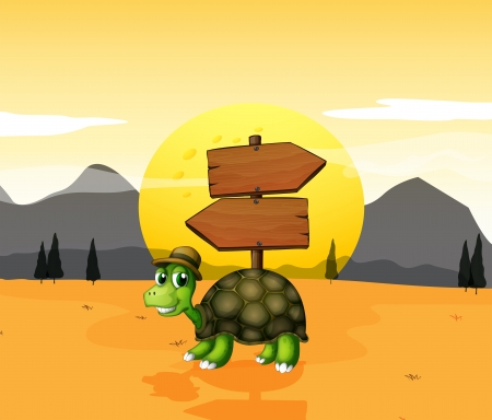 terrestrial: Illustration of a turtle in the desert near the arrowboards