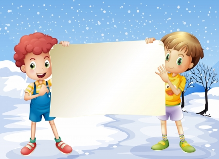 Illustration of the two boys holding an empty signage Vector