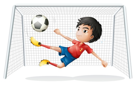 soccer net: Illustration of a boy playing soccer wearing a red uniform on a white background