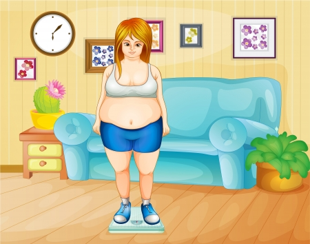 Illustration of a fat girl weighing her weight inside the house Vector