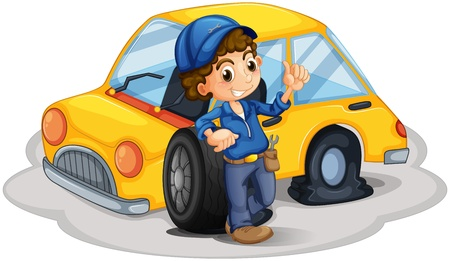 replacing: Illustration of a male mechanic fixing the yellow car on a white background