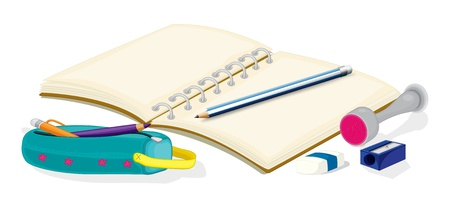 pencil case: Illustration of an empty notebook, pencils, a pencil case, an eraser and a sharpener on a white background