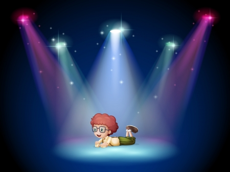 Illustration of a boy lying in the middle of the stage with spotlights Illustration