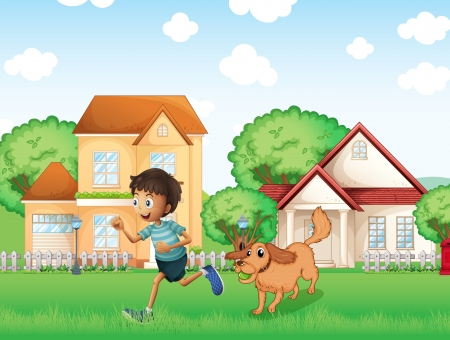 Illustration of a boy playing with his dog Vector