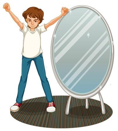 Illustration of a boy beside a mirror on a white background Stock Vector - 20517680