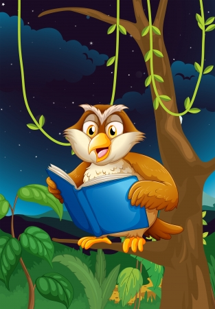 Illustration of an owl reading Vector