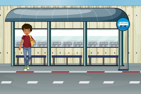 waiting in line: Illustration of a boy at the bus stop