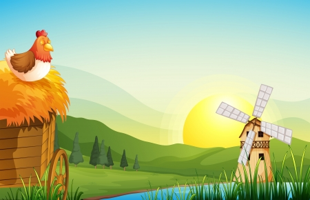 barnhouse: Illustration of a farm with a barnhouse and a windmill