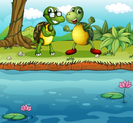 Illustration of the two playful turtles near the pond