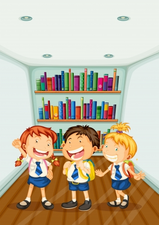 Illustration of the three kids wearing their school uniforms  Vector