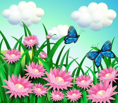 Illustration of the butterflies at the garden with pink flowers