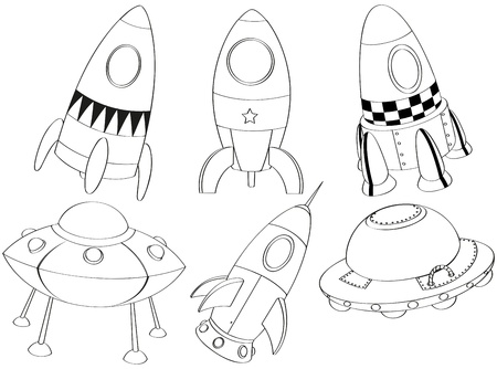 Illustration of the silhouettes of the different spaceships on a white background  Vector