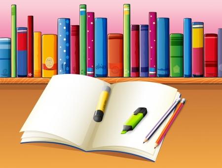 �tag�re bois: Illustration d'un livre vide en face de la tablette en bois avec des livres