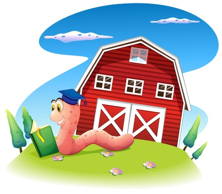 barnhouse: Illustration of a worm reading at the hill with a barnhouse on a white background