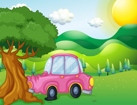 Illustration of a pink car bumping the big tree Vector