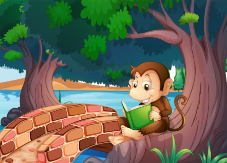 Illustration of a monkey reading a book under the big tree near the bridge Stock Vector - 20518316