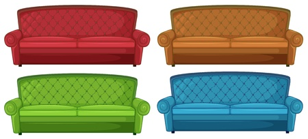 Illustration of the colorful couches on a white background Stock Vector - 20517710