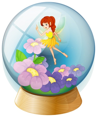Illustration of a flower fairy inside the crystal ball on a white background Vector