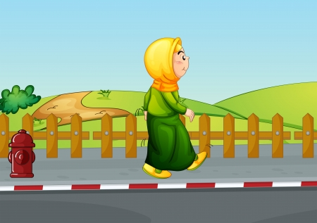 Illustration of an old lady walking along the road  Stock Vector - 20517746