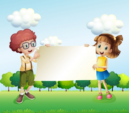 Illustration of a boy and a girl holding an empty signage Illustration