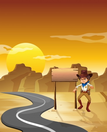 Illustration of an angry cowboy beside the empty board at the desert Vector