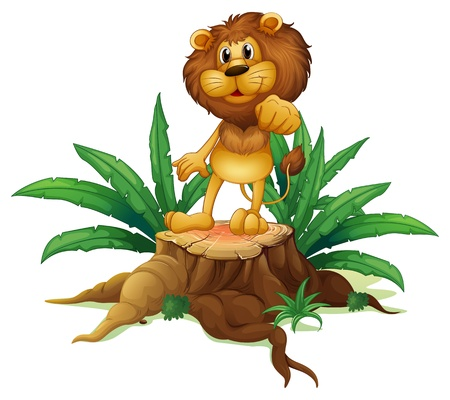 plant stand: Illustration of a lion above a stump standing on a white background Illustration