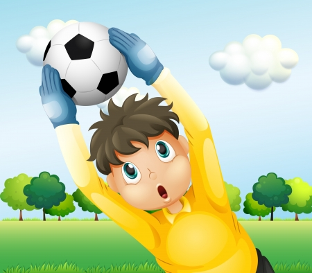Illustration of a boy playing soccer with a yellow uniform