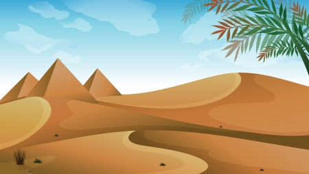 manmade: Illustration of a landscape at the desert