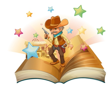 Illustration of an open book with an armed cowboy on a white background Vector