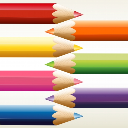 pencil sharpener: Illustration of the seven colorful pointed pencils on a white background Illustration
