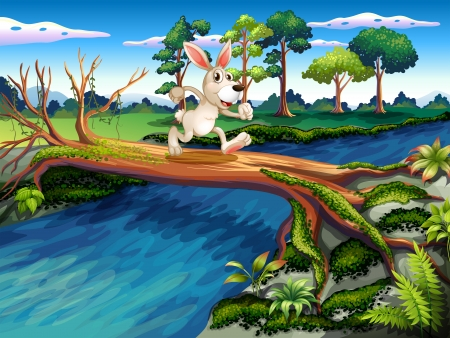 Illustration of a rabbit crossing the river Stock Vector - 20518343