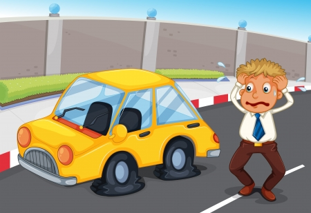 flat tyre: Illustration of a panicking office worker Illustration