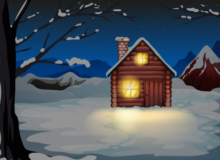 snowy mountain: Illustration of a lighted log house at the snowy land
