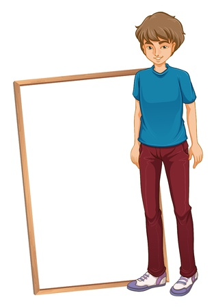 young man jeans: Illustration of a young boy with a blue shirt on a white background Illustration