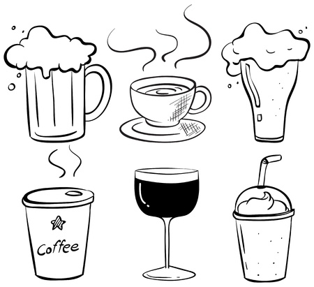 hot water bottle: Illustration of the doodle design of the different kinds of drinks on a white background