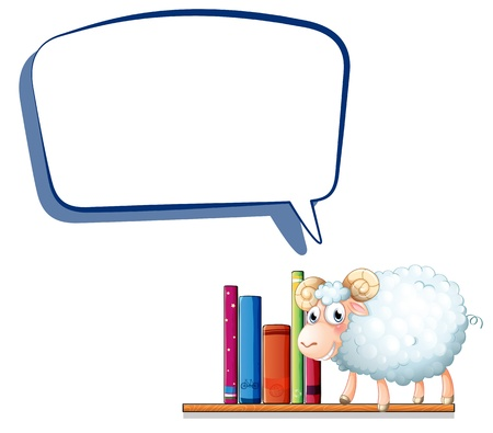 Illustration of a sheep in the library with an empty callout on a white background