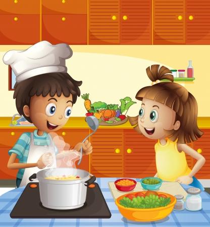 台所で料理を子供たちのイラスト