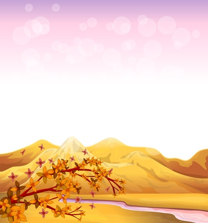 pinkish: Illustration of a flowing river near the high mountains