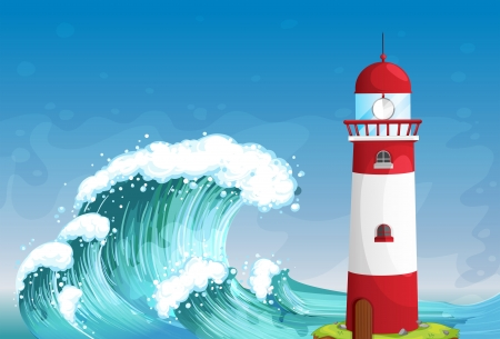 parola: Illustration of a lighthouse in the middle of the sea with high waves