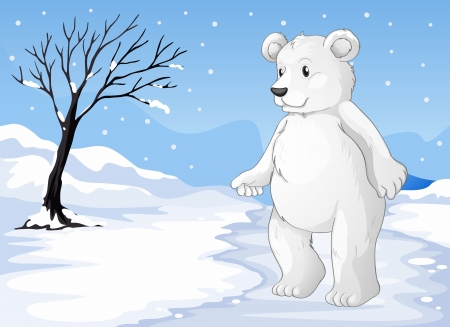 polar climate: Illustration of a polar bear freezing Illustration