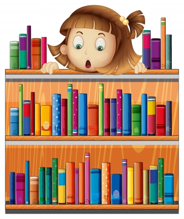 storyteller: Illustration of a shocked face of a girl at the back of a wooden shelves with books on a white background  Illustration