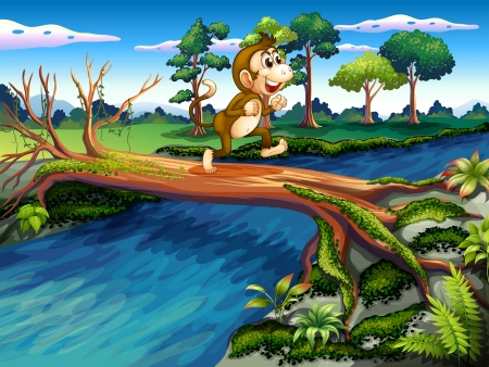 Illustration of a monkey crossing the river Vector