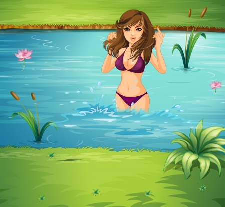 Illustration of a girl swimming at the pond Vector